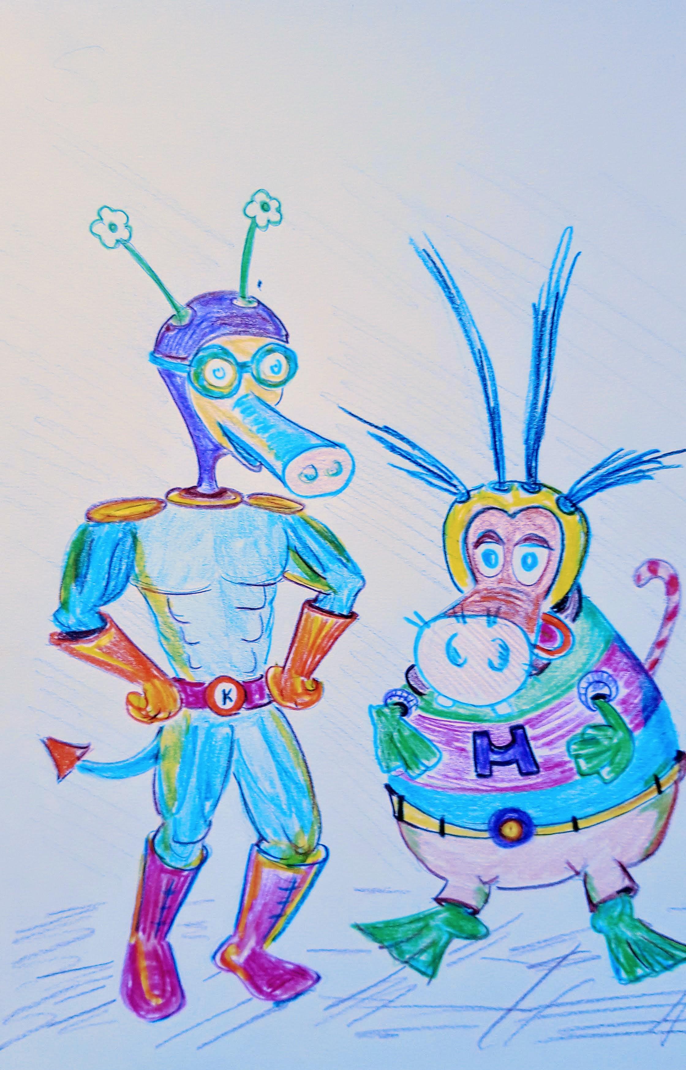 The Karillapig and Hippobuffafrog superheros